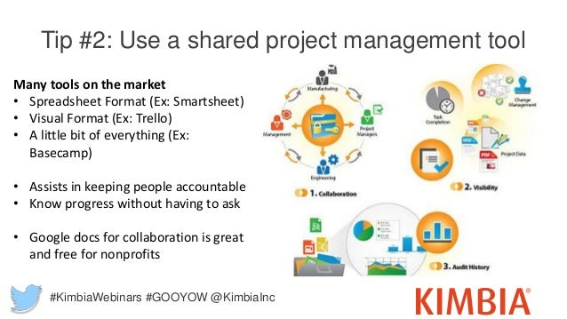 Tip #2: Use a shared project management tool Many tools on the market • Spreadsheet Format (Ex: Smartsheet) • Visual Forma...