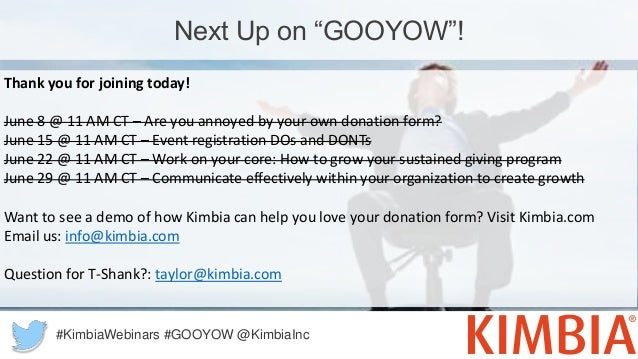 """Next Up on """"GOOYOW""""! Thank you for joining today! June 8 @ 11 AM CT – Are you annoyed by your own donation form? June 15 @..."""