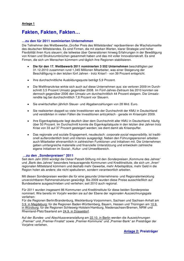 """Anlage 1Fakten, Fakten, Fakten……zu den für 2011 nominierten UnternehmenDie Teilnehmer des Wettbewerbs """"Großer Preis des Mi..."""