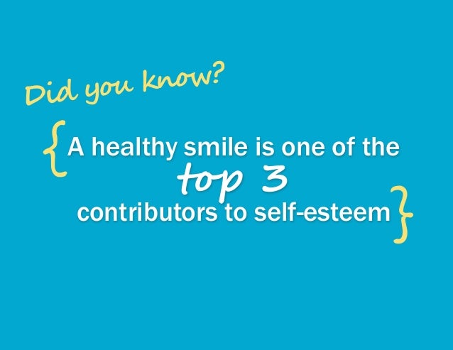 A healthy smile is one of the top 3 contributors to self-esteem { } Did you know?
