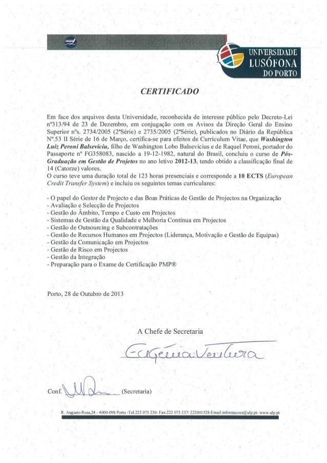 Certificado Pós-Graduação em Gestão de Projetos