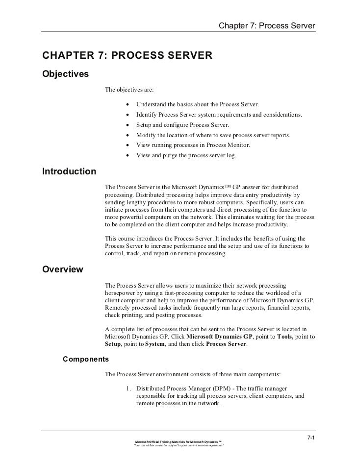 Chapter 7: Process ServerCHAPTER 7: PROCESS SERVERObjectives               The objectives are:                       •    ...
