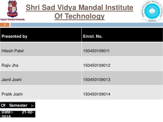 Of Semester :- Ⅵ 2 Presented by Enrol. No. Hitesh Patel 150450109011 Rajiv Jha 150450109012 Jainil Joshi 150450109013 Prat...