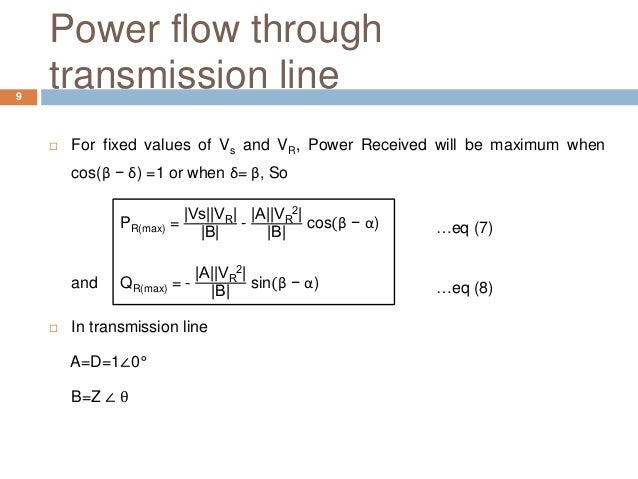 Power flow through transmission line  For fixed values of Vs and VR, Power Received will be maximum when cos(β − δ) =1 or...