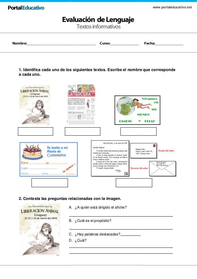 Evaluación de 1. Identifica cada uno de los siguientes textos. a cada uno. 2. Contesta las preguntas relacionadas con la i...