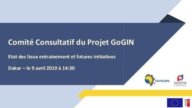 Comité Consultatif du Projet GoGIN Etat des lieux entrainement et futures initiatives Dakar – le 9 avril 2019 à 14:30