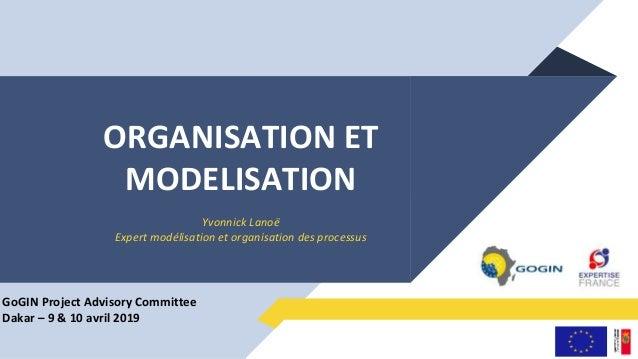 ORGANISATION ET MODELISATION Yvonnick Lanoë Expert modélisation et organisation des processus GoGIN Project Advisory Commi...