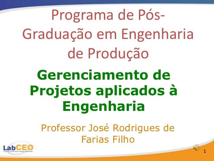 Programa de Pós-Graduação em Engenharia      de Produção Gerenciamento deProjetos aplicados à    Engenharia  Professor Jos...