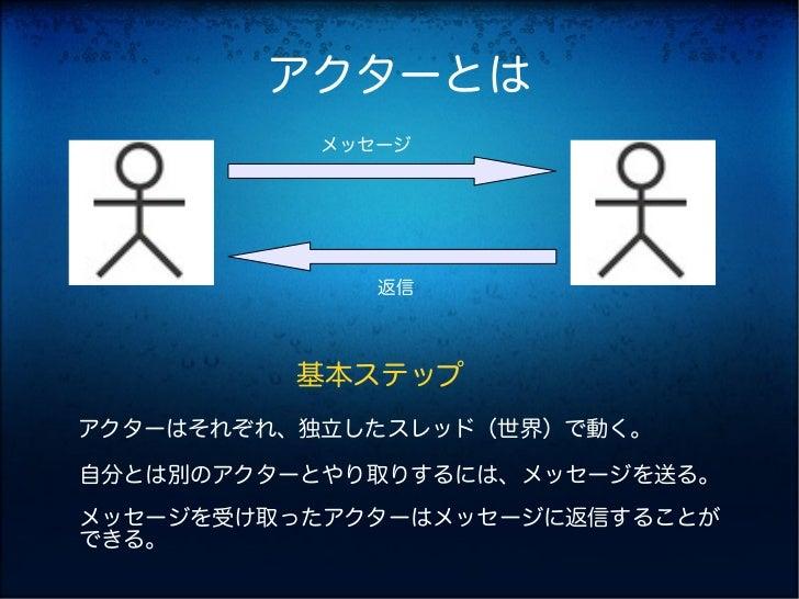 アクターとは          メッセージ             返信         基本ステップアクターはそれぞれ、独立したスレッド(世界)で動く。自分とは別のアクターとやり取りするには、メッセージを送る。メッセージを受け取ったアクターは...