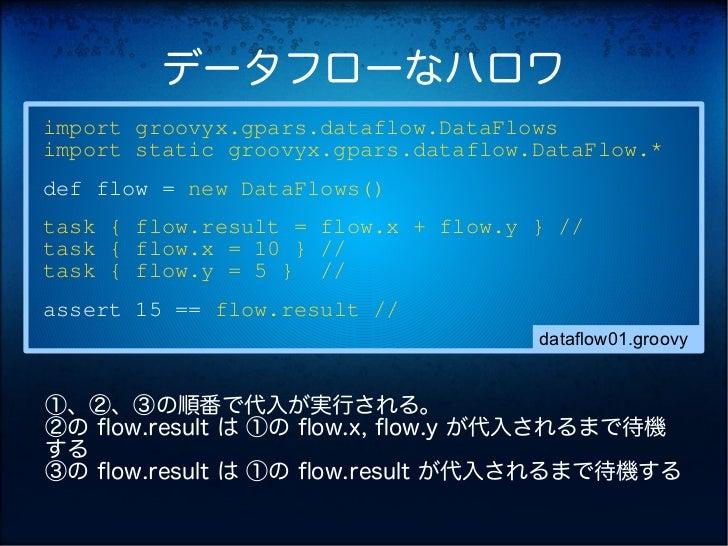 データフローなハロワimport groovyx.gpars.dataflow.DataFlowsimport static groovyx.gpars.dataflow.DataFlow.*def flow = new DataFlows()...