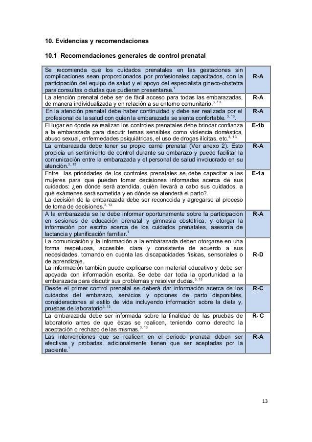 13      10. Evidencias y recomendaciones 10.1 Recomendaciones generales de control prenatal Se recomienda que l...