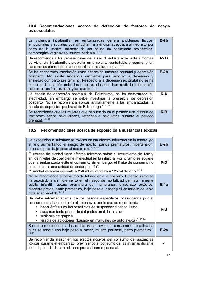 17      10.4 Recomendaciones acerca de detección de factores de riesgo psicosociales La violencia intrafamiliar...