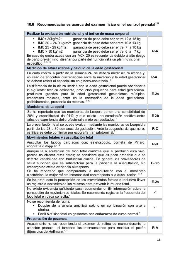 18      10.6 Recomendaciones acerca del examen físico en el control prenatal1-9 Realizar la evaluación nutricio...