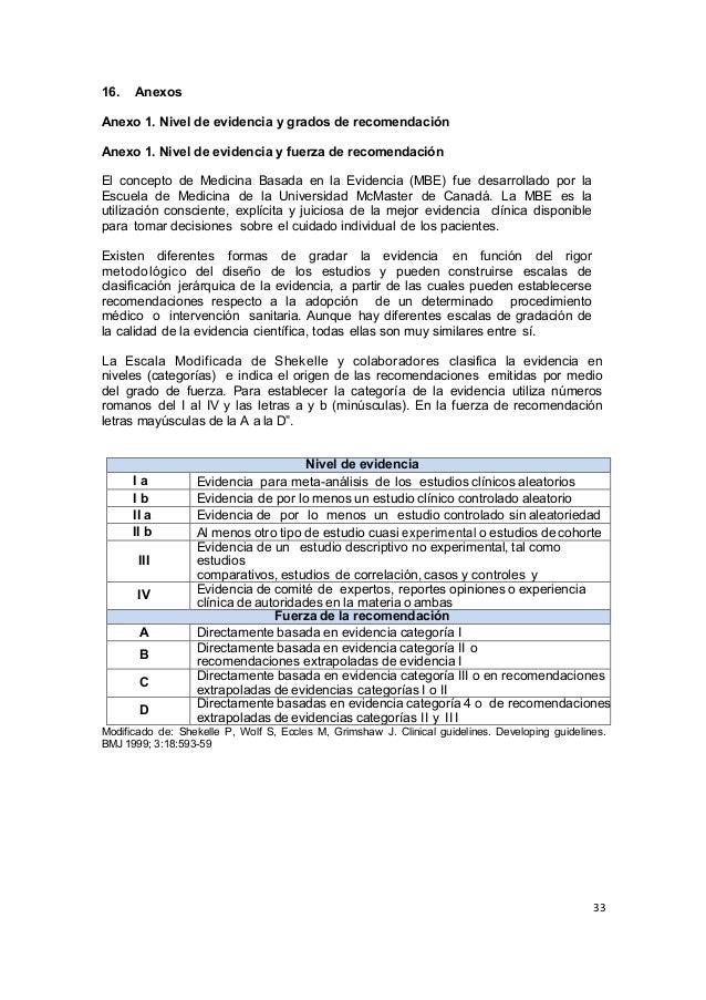 33      16. Anexos Anexo 1. Nivel de evidencia y grados de recomendación Anexo 1. Nivel de evidencia y fuerza d...
