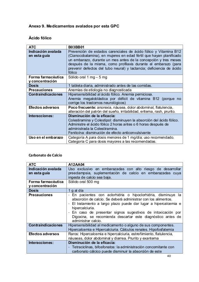 40      Anexo 9. Medicamentos avalados por esta GPC    Ácido fólico ATC B03BB01 Indicación avalada en esta gu...