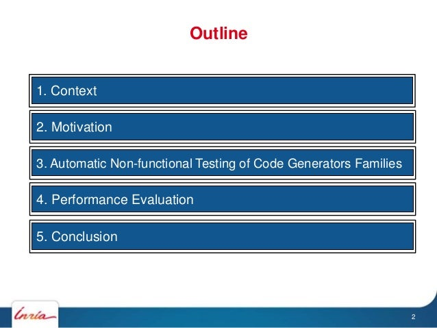 a1. Context a2. Motivation a3. Automatic Non-functional Testing of Code Generators Families a4. Performance Evaluation a5....