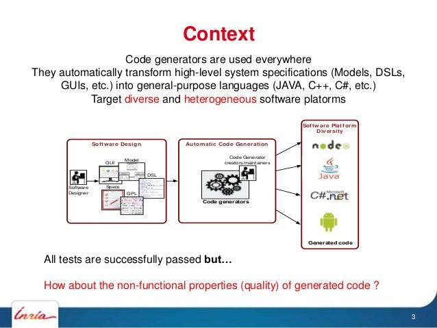 Context 3 Software Platform Diversity Software Design Automatic Code Generation Software Designer DSL Model GPL Specs GUI ...