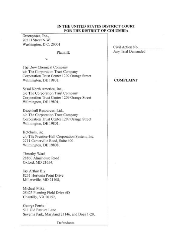 IN THE UNITED STATES DISTRICT COURT FOR THE DISTRICT OF COLUMBIA  Greenpeace,  Inc. , 702 H Street N. W. Washington,  D. C...