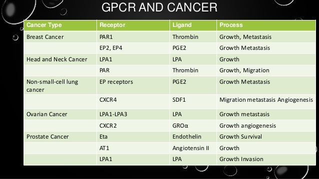 G Protein Coupled Receptors (GPCRs) and Cancer