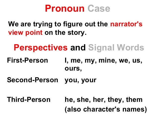 Pronoun Case First-Person I, me, my, mine, we, us, ours, Second-Person you, your Third-Person he, she, her, they, them (al...