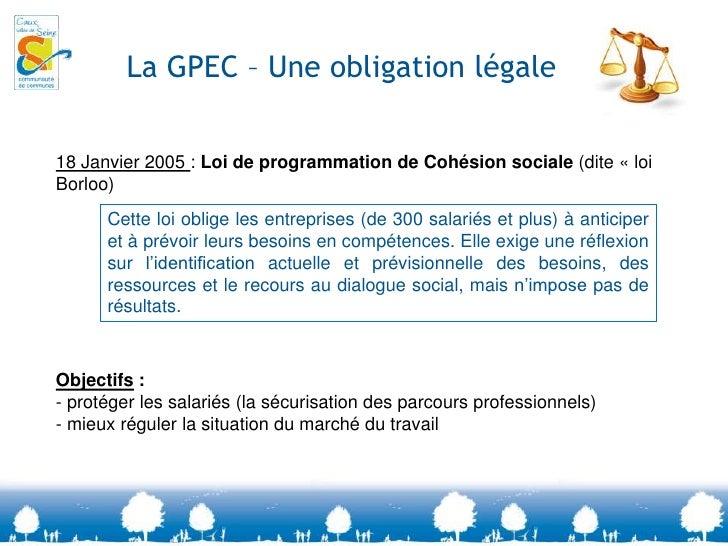 La GPEC – Une obligation légale<br />18 Janvier 2005 : Loi de programmation de Cohésion sociale (dite «loi Borloo)<br />O...