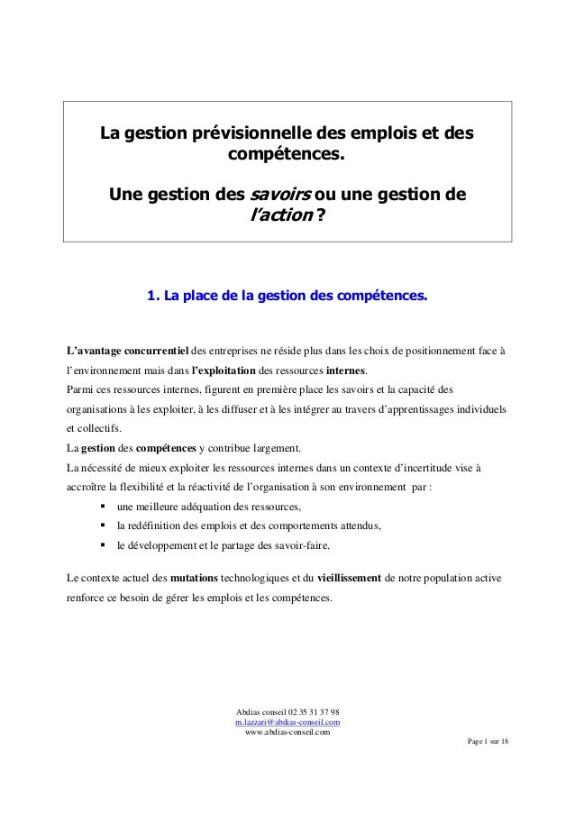 Abdias conseil 02 35 31 37 98 m.lazzari@abdias-conseil.com www.abdias-conseil.com Page 1 sur 18 La gestion prévisionnelle ...