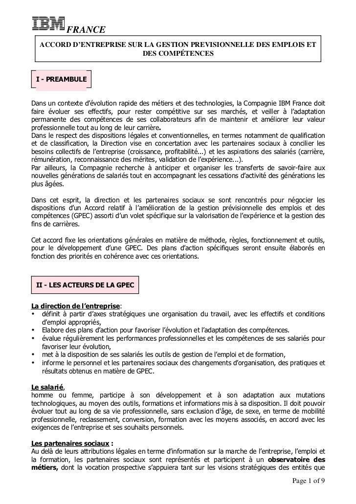 FRANCE   ACCORD D'ENTREPRISE SUR LA GESTION PREVISIONNELLE DES EMPLOIS ET                          DES COMPÉTENCES I - PRE...