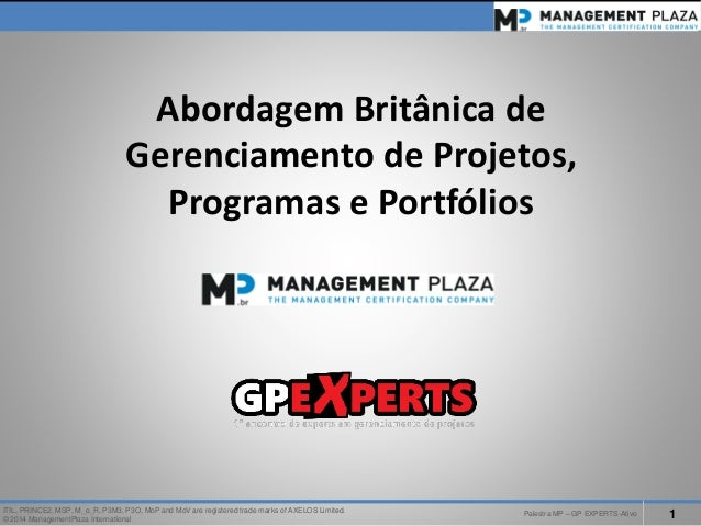 PalestraMP –GP EXPERTS-Ativo  1  ITIL, PRINCE2, MSP, M_o_R, P3M3, P3O, MoPand MoVare registered trade marks of AXELOS Limi...