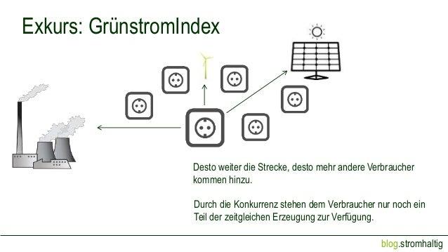 blog.stromhaltig Exkurs: GrünstromIndex Desto weiter die Strecke, desto mehr andere Verbraucher kommen hinzu. Durch die Ko...