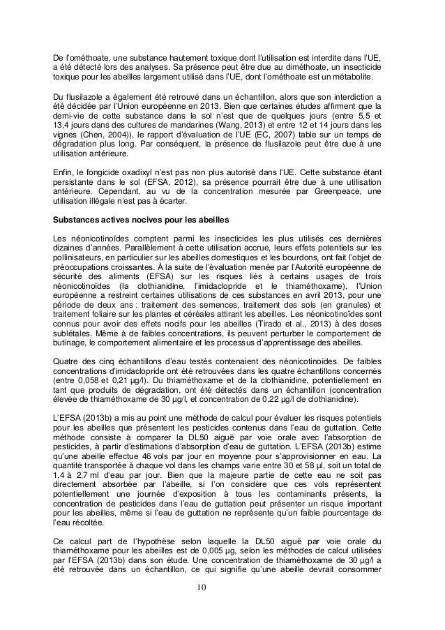 10 De l'ométhoate, une substance hautement toxique dont l'utilisation est interdite dans l'UE, a été détecté lors des anal...