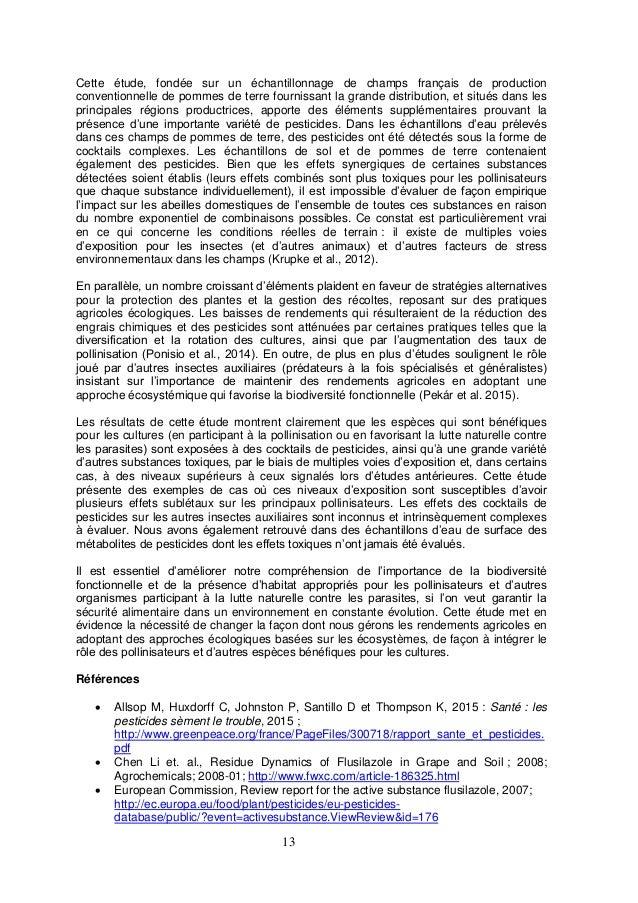 13 Cette étude, fondée sur un échantillonnage de champs français de production conventionnelle de pommes de terre fourniss...