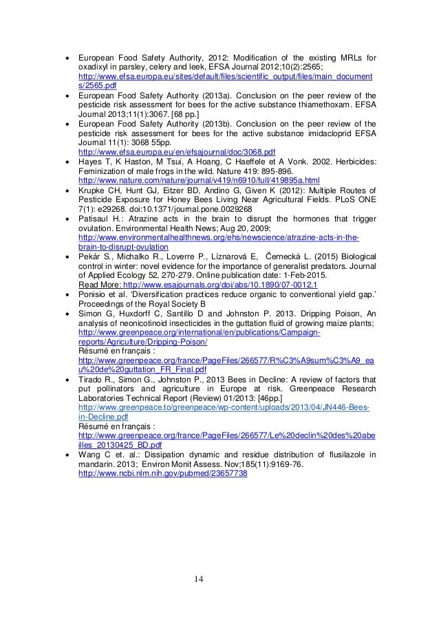 14  European Food Safety Authority, 2012: Modification of the existing MRLs for oxadixyl in parsley, celery and leek, EFS...