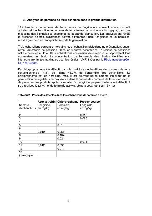 8 B. Analyses de pommes de terre achetées dans la grande distribution 12 échantillons de pommes de terre issues de l'agric...