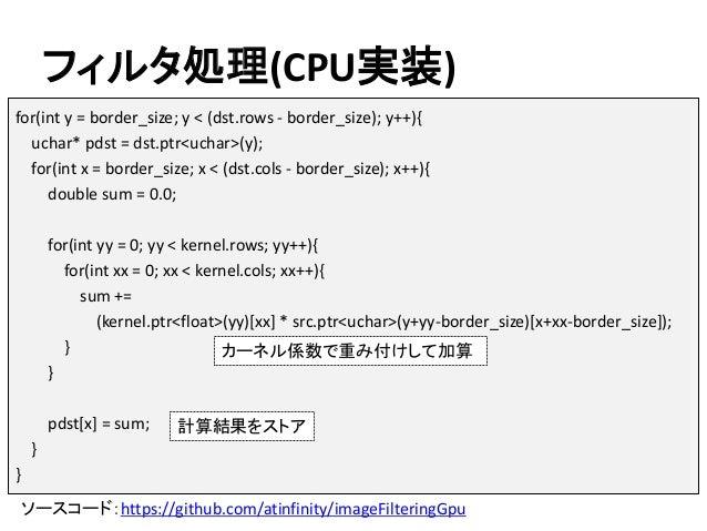 フィルタ処理(CPU実装) ソースコード:https://github.com/atinfinity/imageFilteringGpu for(int y = border_size; y < (dst.rows - border_size)...