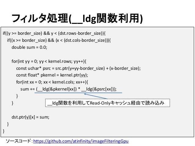 フィルタ処理(__ldg関数利用) ソースコード:https://github.com/atinfinity/imageFilteringGpu if((y >= border_size) && y < (dst.rows-border_siz...