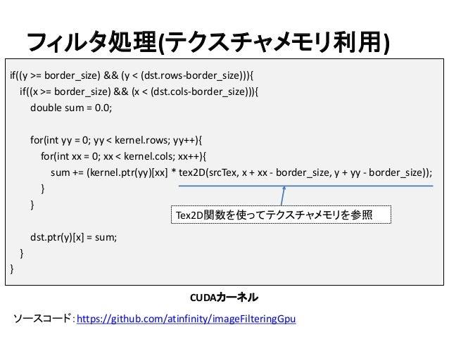 フィルタ処理(テクスチャメモリ利用) ソースコード:https://github.com/atinfinity/imageFilteringGpu if((y >= border_size) && (y < (dst.rows-border_s...