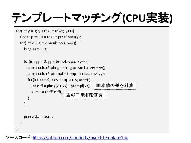 テンプレートマッチング(CPU実装) ソースコード:https://github.com/atinfinity/matchTemplateGpu for(int y = 0; y < result.rows; y++){ float* pres...