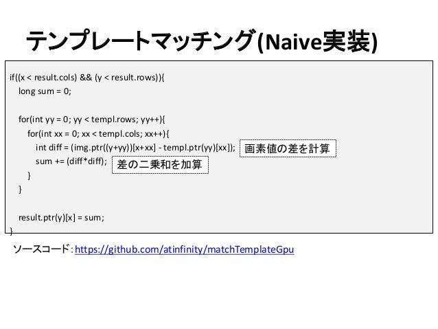 テンプレートマッチング(Naive実装) ソースコード:https://github.com/atinfinity/matchTemplateGpu if((x < result.cols) && (y < result.rows)){ lon...