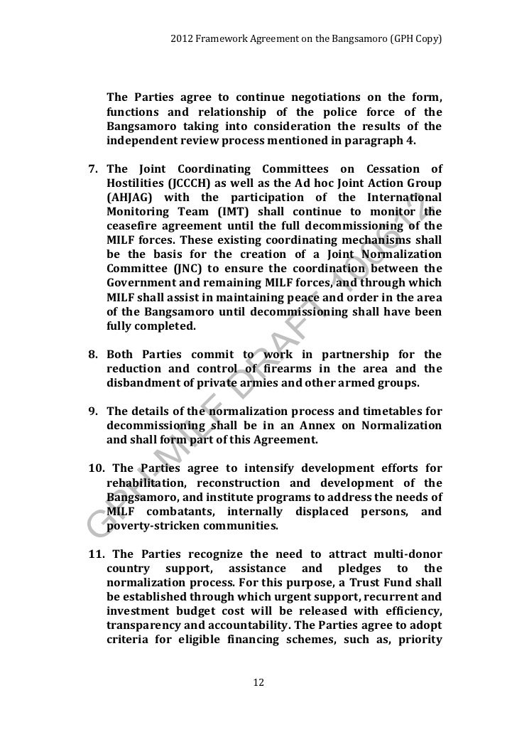 framework agreement on the bangsamoro essay Framework agreement on the bangsamoro 15 october 2012  original copy in the name of god, the beneficent, the merciful framework agreement on the bangsamoro the philippine government (gph) and the moro islamic liberation front (milf) herein referred to as the parties to this  forms a part of this framework agreement.