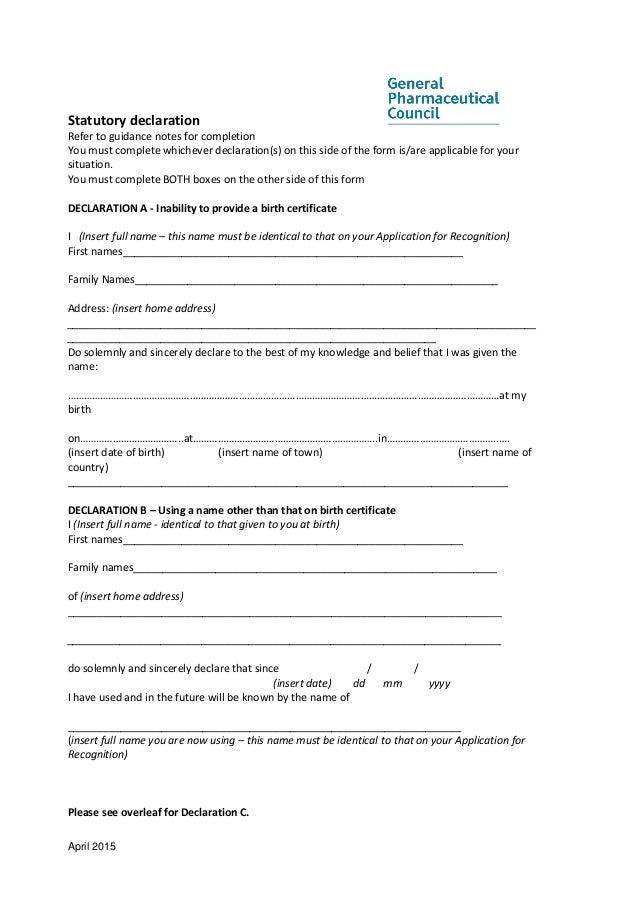 Gphc eea pharmaciststandardinformationpackapril2015 17 april 2015 statutory declaration thecheapjerseys Images