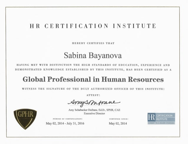 Global Professional In Human Resources Gphr Diploma