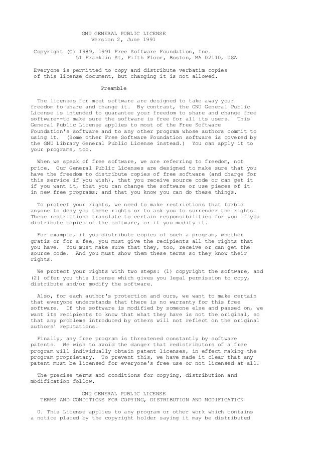 GNU GENERAL PUBLIC LICENSE Version 2, June 1991 Copyright (C) 1989, 1991 Free Software Foundation, Inc. 51 Franklin St, Fi...