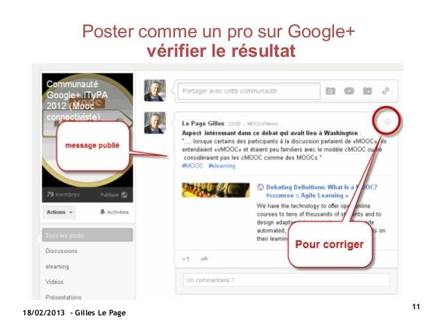 Poster comme un pro sur Google+                       vérifierlerésultat                                                ...