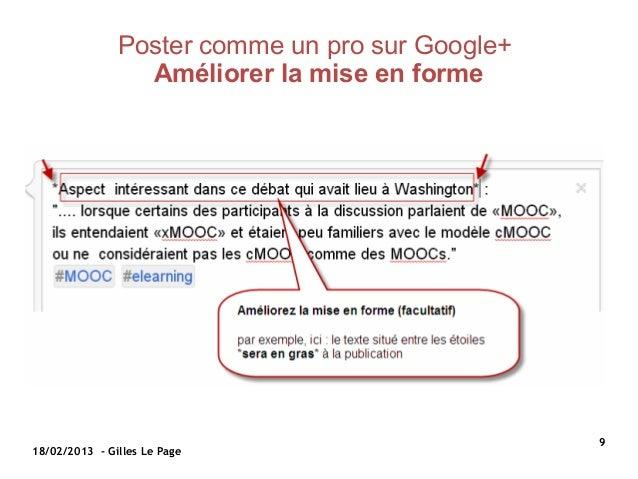 Poster comme un pro sur Google+                 Améliorerlamiseenforme                                                ...