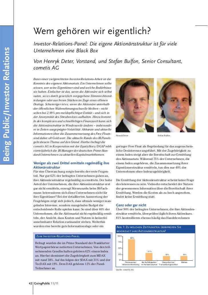 Wem gehören wir eigentlich?                                     Investor-Relations-Panel: Die eigene Aktionärsstruktur ist...