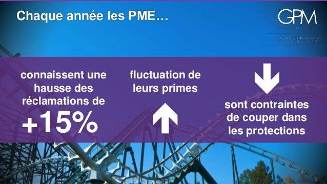 Chaque année les PME…  fluctuation de  leurs primes    connaissent une  hausse des  réclamations de  +15%    sont contra...