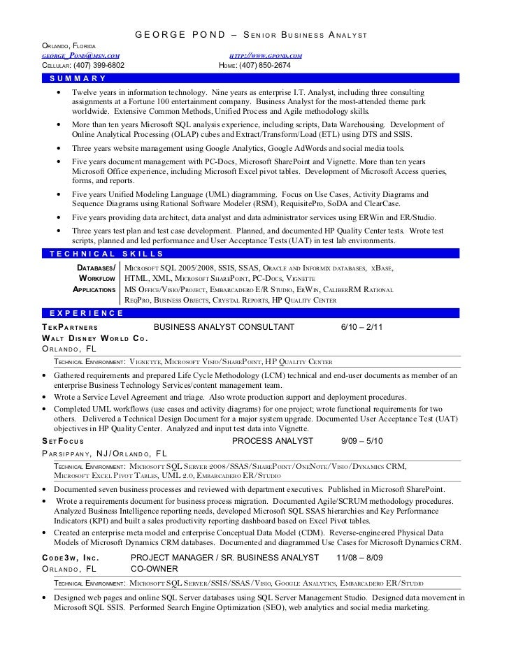 sample resume business objects developer resume