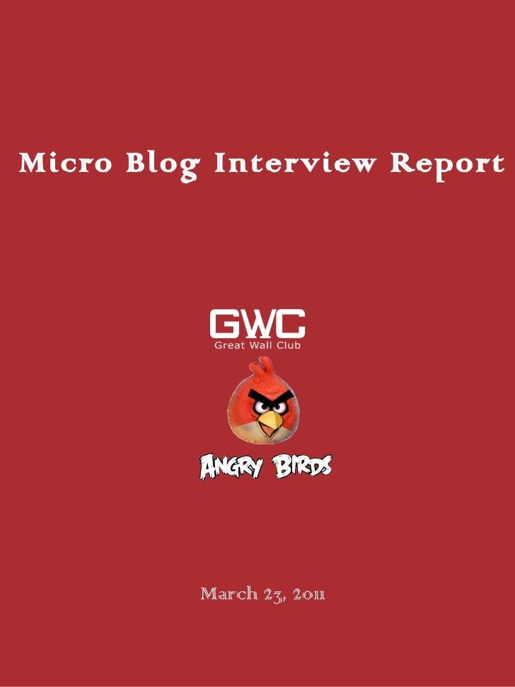 Micro Blog Interview Report <ul><li>March 23, 2011 </li></ul>