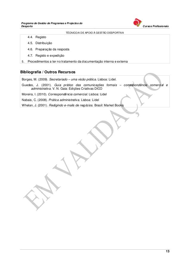Programa de Gestão de Programas e Projectos doDesporto                                                                   C...