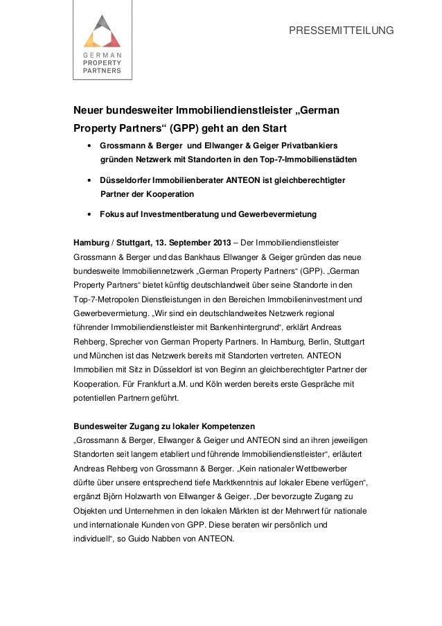 "PRESSEMITTEILUNG Neuer bundesweiter Immobiliendienstleister ""German Property Partners"" (GPP) geht an den Start • Grossmann..."